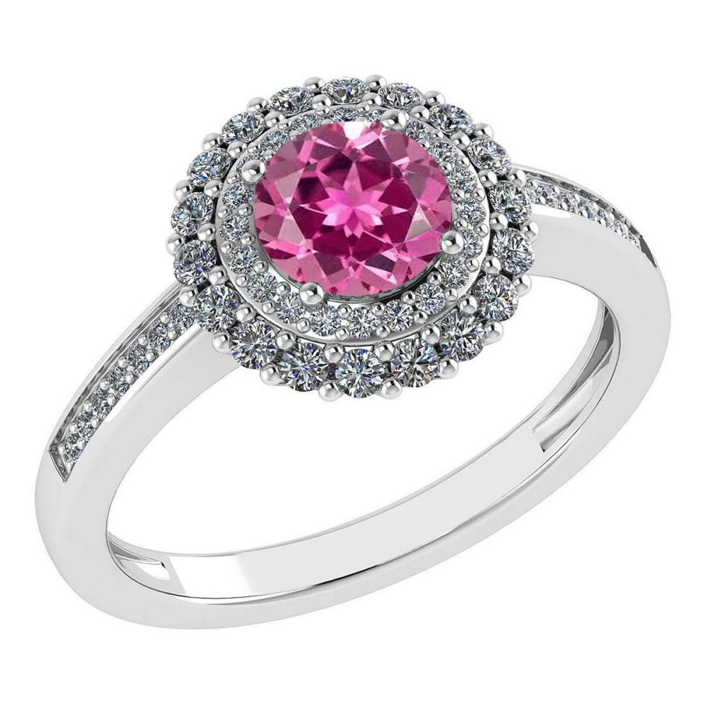 Certified 1.28 Ctw Pink Tourmaline And Diamond 14k Yellow Halo Gold Ring (VS/SI1) #1AC18489