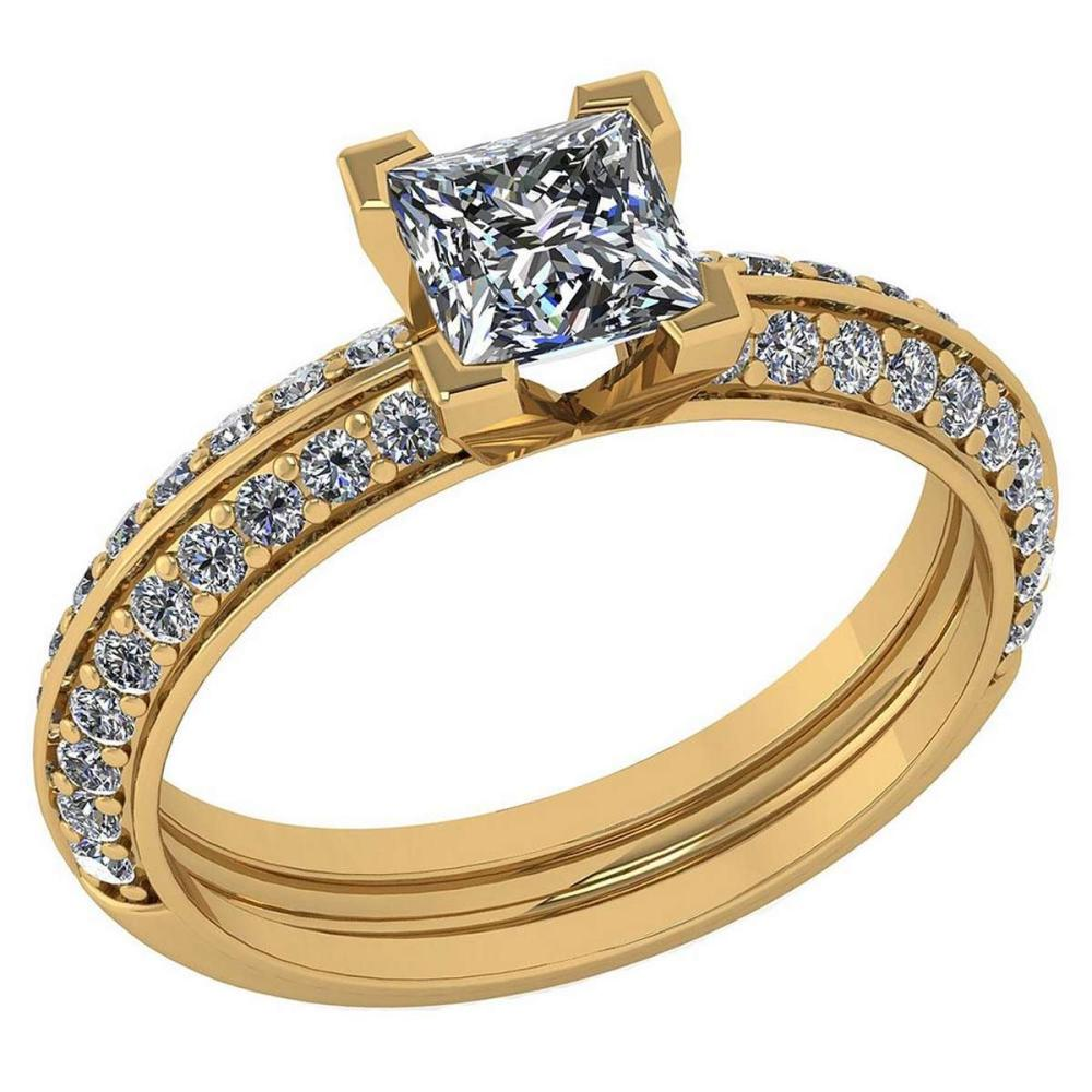 Certified 0.74 Ctw Diamond Wedding/Engagement Style 14k Yellow Gold Halo Ring (SI2/I1) #1AC19308