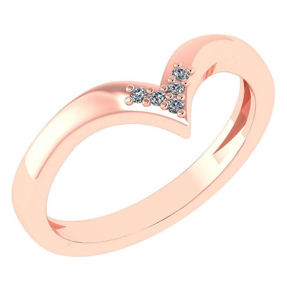 Certified 0.03Ctw Diamond 14k Rose Gold Band Made In USA #1AC97393