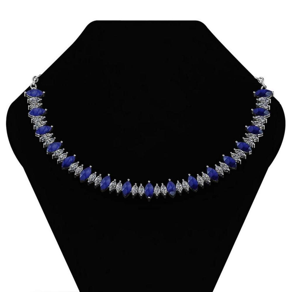 Certified 27.56 Ctw Blue Sapphire And Diamond Necklace For womens 21st Century New collection 14K White Gold (I1/I2) #1AC18720