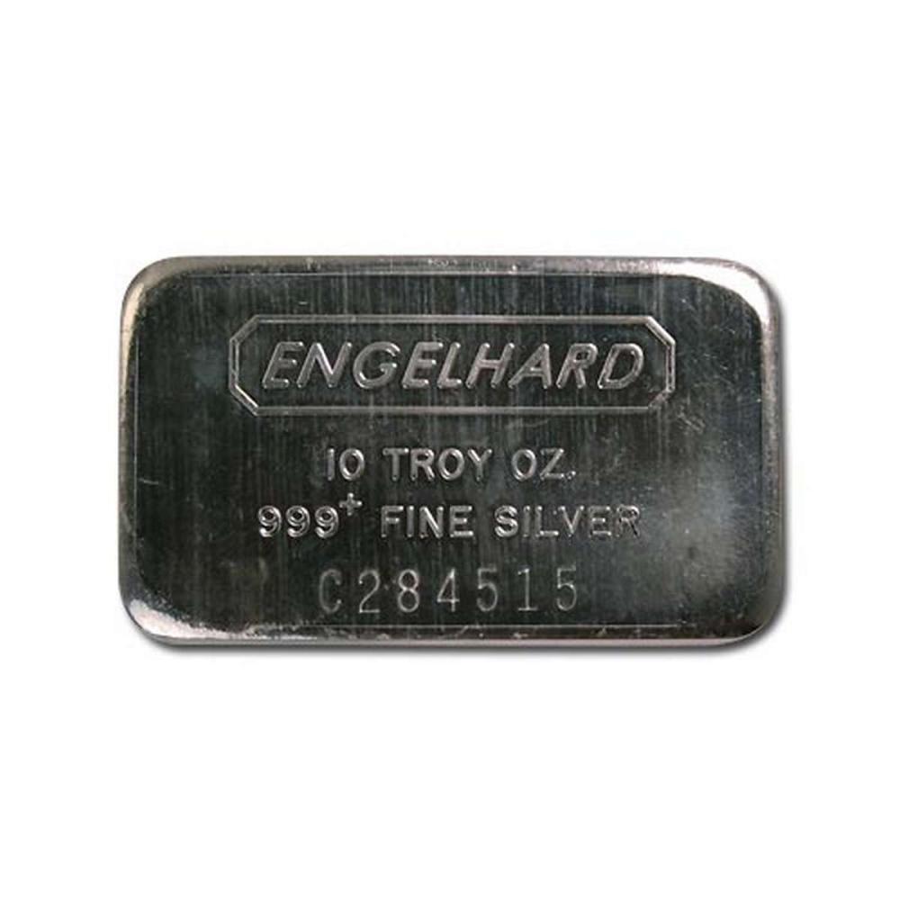 Engelhard Silver Bar 10 oz Bar - Wide Struck Logo Back #1AC96535