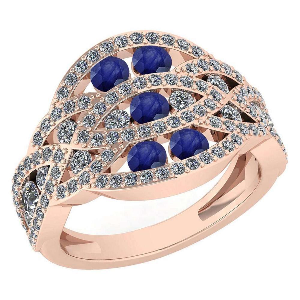 Certified 1.61 Ctw Blue Sapphire And Diamond Wedding/Engagement Style 14K Rose Gold Halo Ring (VS/SI1) #1AC19369