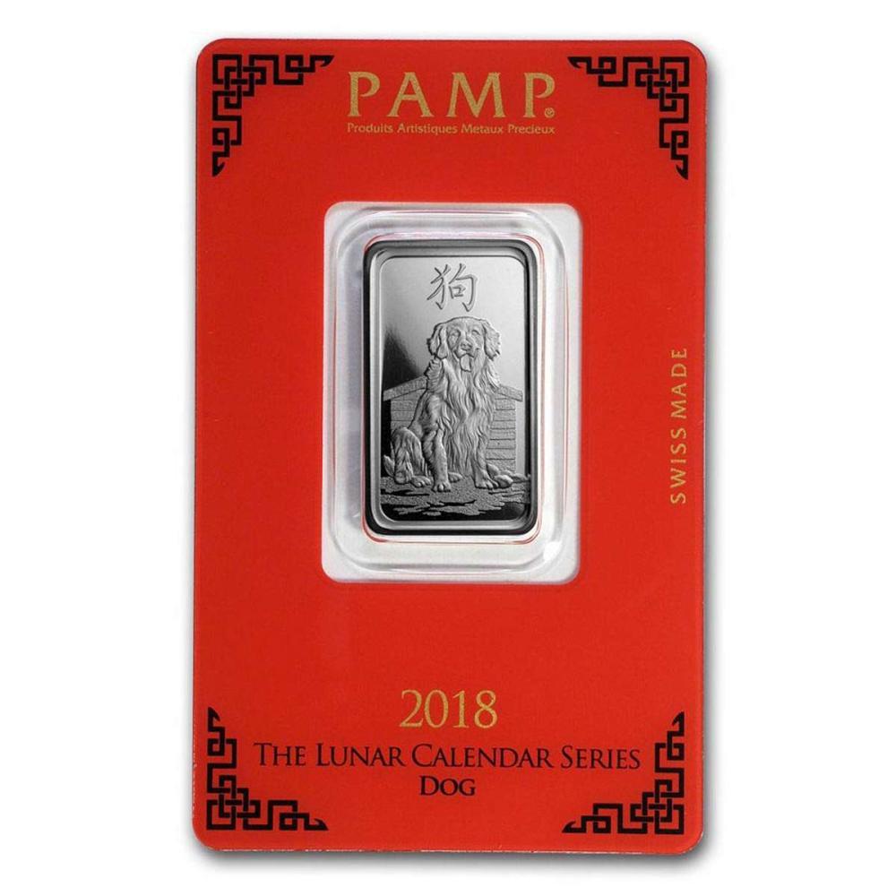PAMP Suisse Silver Bar 10 Gram - 2018 Dog Design #1AC96585