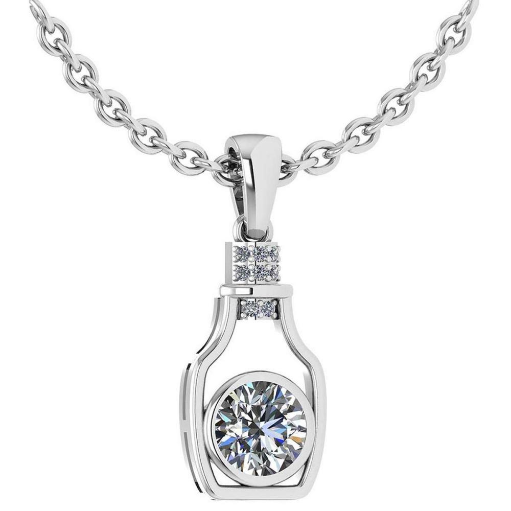 Certified 1.36 Ctw Diamond bottle Necklace For womens New Expressions Love collection 14K White Gold (SI2/I1) #1AC19200