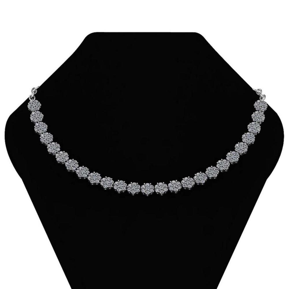 Certified 12.07 Ctw Diamond (VS-SI1/G-H) Necklace 14K White Gold #1AC19316