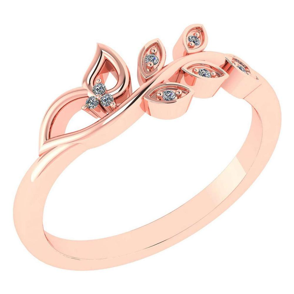 Certified 0.04 Ctw Diamond 14k Rose Gold Anniversary Ring Made In USA #1AC97389