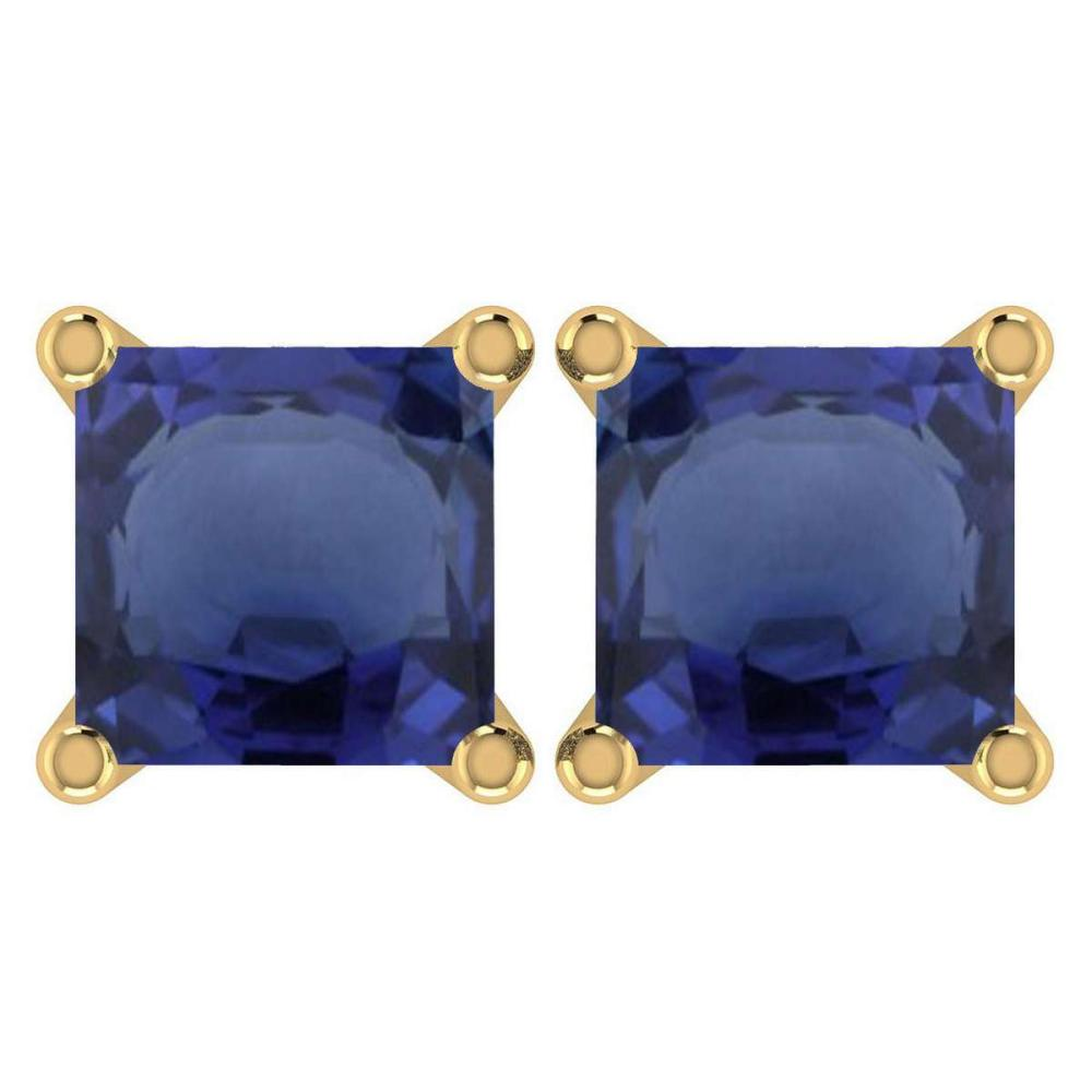 Certified 6.00Ctw Genuine Blue Sapphire 14K Yellow Gold Stud Earrings Made In USA #1AC97126
