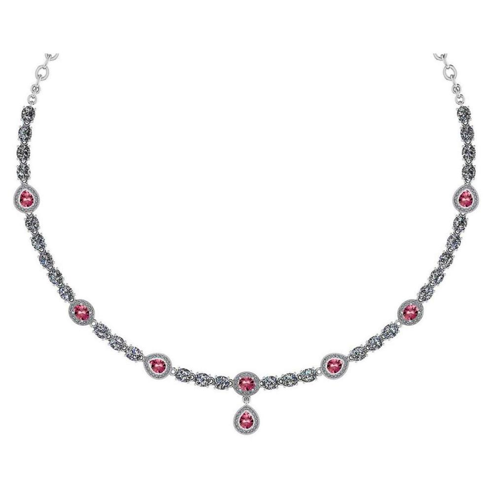 Certified 18.49 Ctw Pink Tourmaline And Diamond Necklace For Ladies 14K White Gold (SI2/I1) #1AC19399
