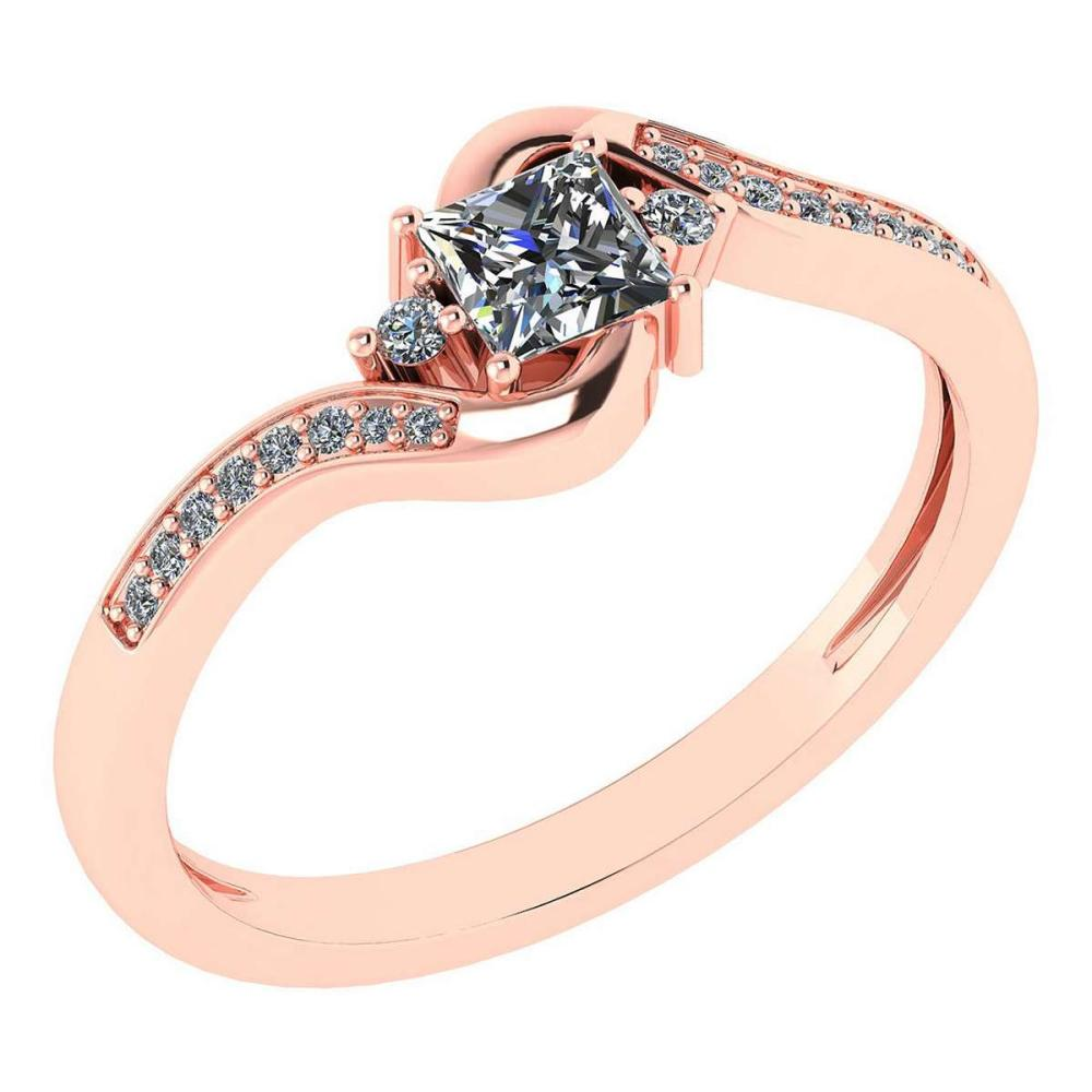 Certified 0.51 Ctw Diamond 14k Rose Gold Halo Promise Ring Made In USA #1AC97372