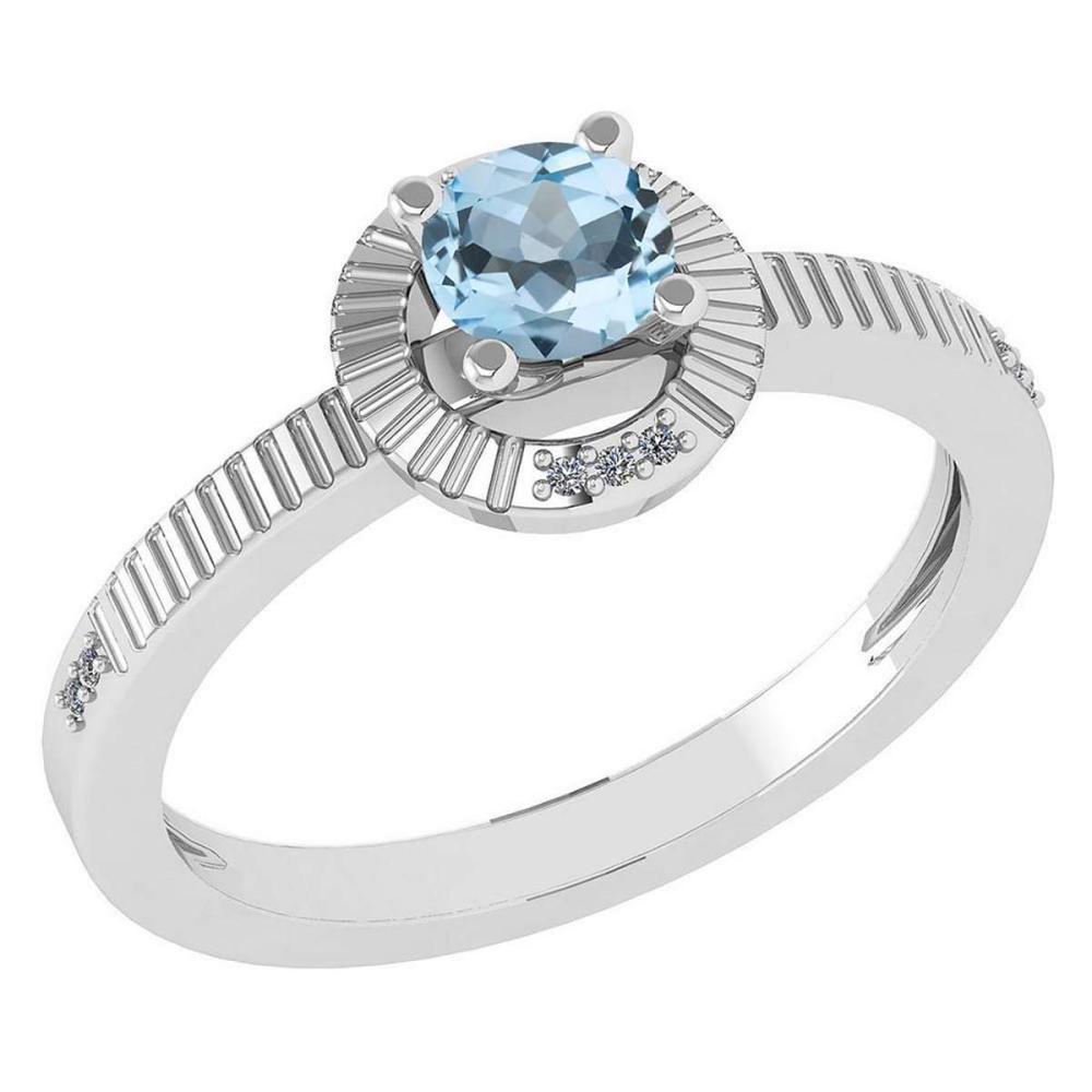Certified 0.37 CTW Aquamarine And Diamond 14k White Gold Halo Ring #1AC98581