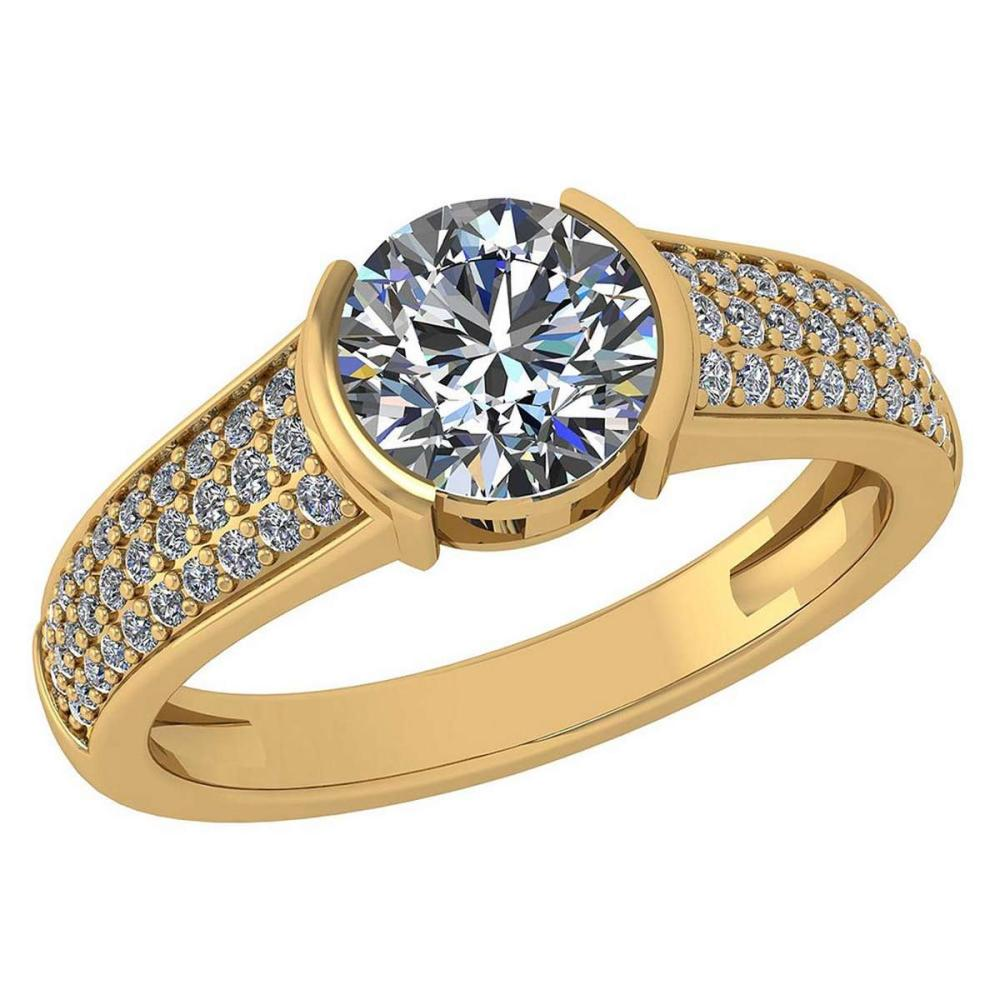 Certified 1.55 Ctw Diamond Halo Ring For Engagement New Expressions love collection 14K Yellow Gold (SI2/I1) #1AC19220