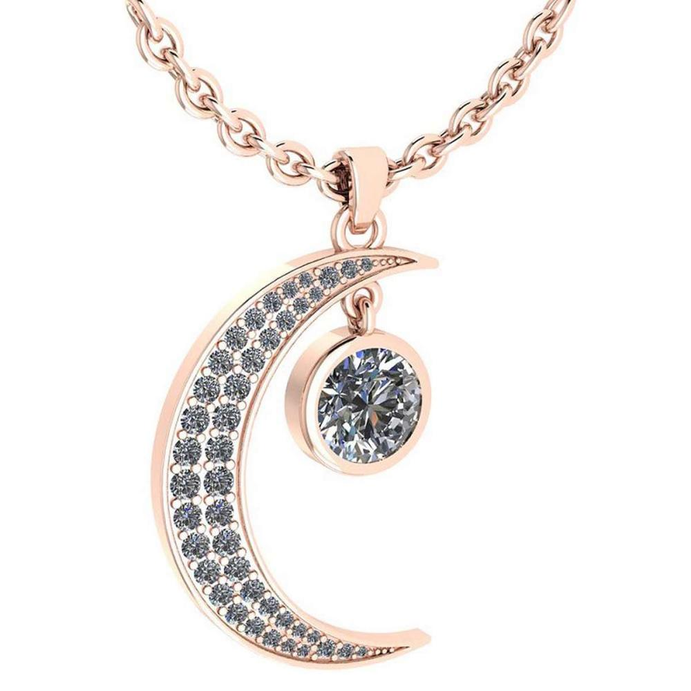 Certified 1.76 Ctw Diamond Moon Necklace For womens New Expressions Love collection 14K Rose Gold (SI2/I1) #1AC19195