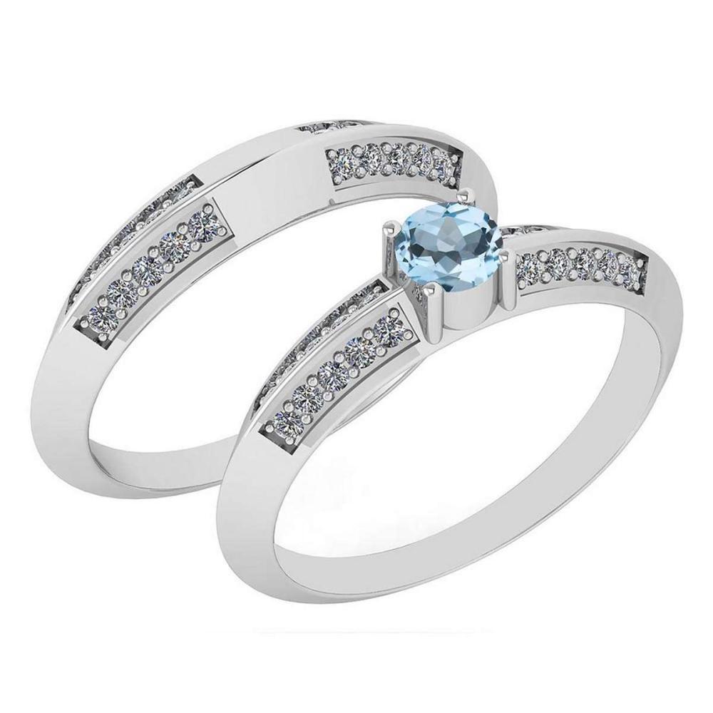 Certified .55 Ctw Aquamarine And Diamond Wedding/Engagement Style 14K White Gold Halo Ring (VS/SI1) #1AC18698