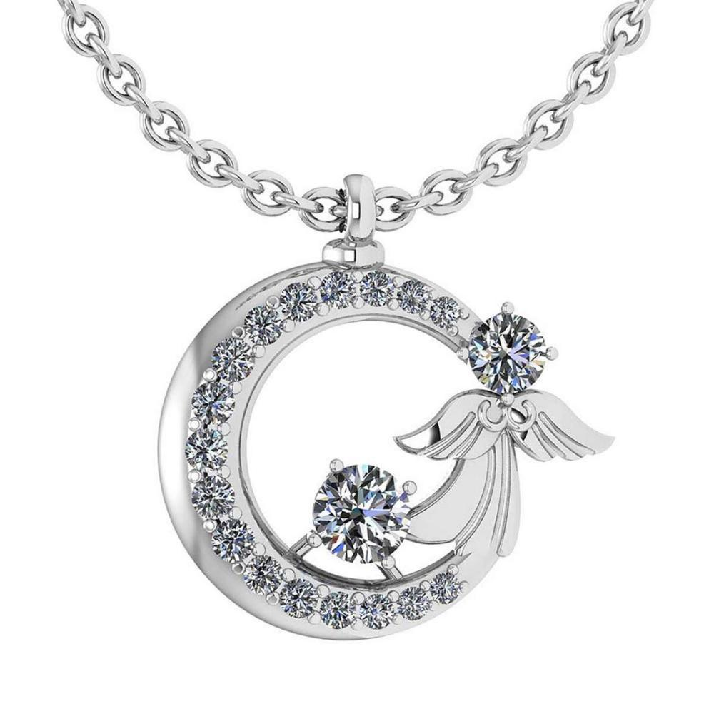 Certified 1.14 Ctw Diamond Tiny Angel Necklace For womens New Expressions love collection 14K White Gold (VS/SI1) #1AC19203