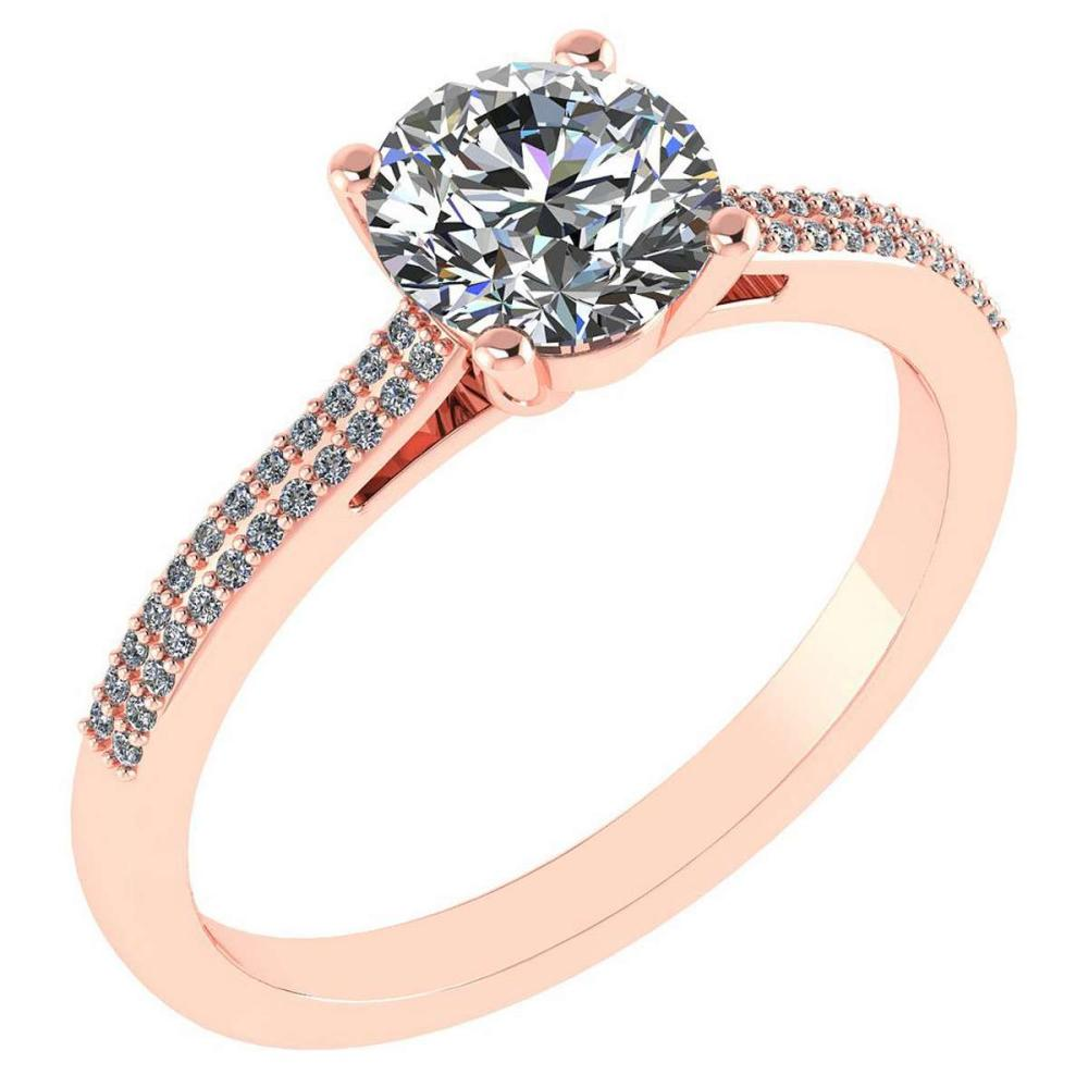Certified 1.37 Ctw Diamond 14k Rose Gold Halo Ring Made In USA #1AC97370