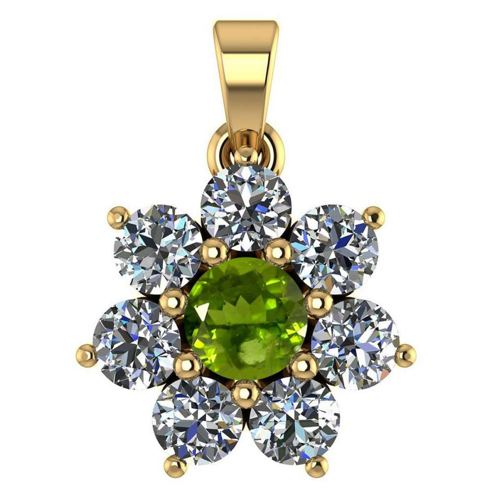 Certified 0.93 Ctw Peridot And Diamond 14k Yellow Gold Halo necklace VS/SI1 #1AC97434