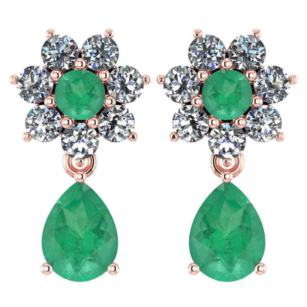 Certified 4.86 Ctw Emerald And Diamond 14k Rose Gold Halo Dangling Earrings #1AC97480