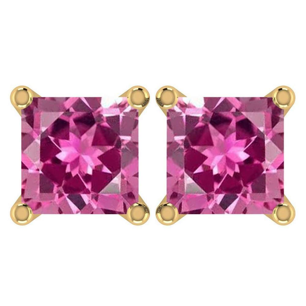 Certified 6.00Ctw Genuine Pink Tourmaline 14K Yellow Gold Stud Earrings Made In USA #1AC97127