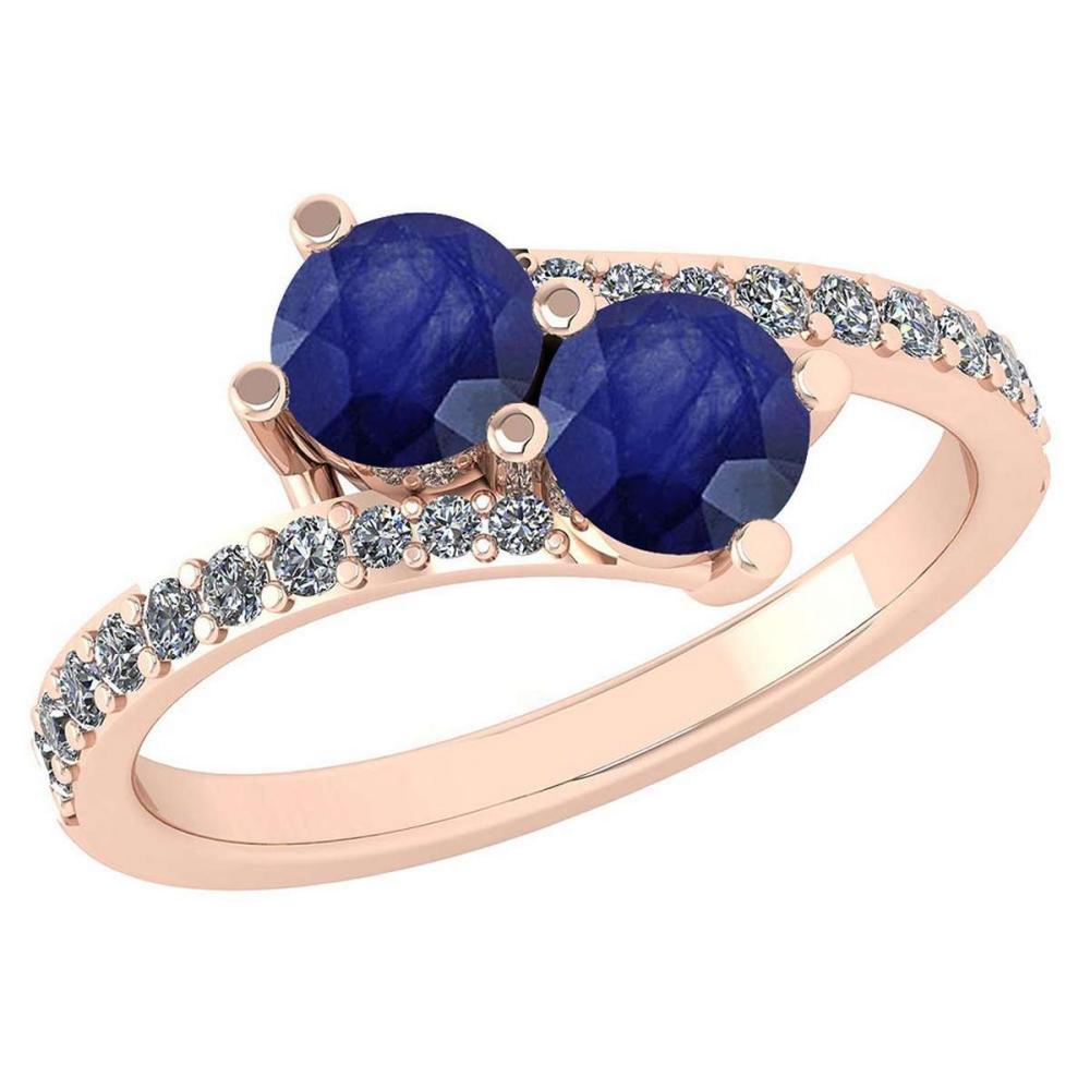 Certified 1.24 Ctw Blue Sapphire And Diamond Wedding/Engagement Style 14K Rose Gold Halo Ring (VS/SI1) #1AC18658