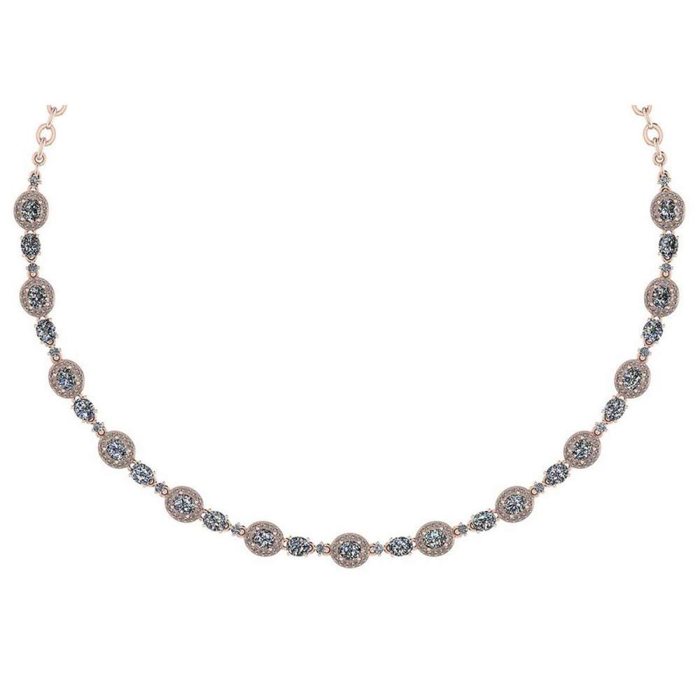 Certified 10.15 Ctw Diamond Necklace For Ladies 14K Rose Gold (SI2/I1) #1AC19330