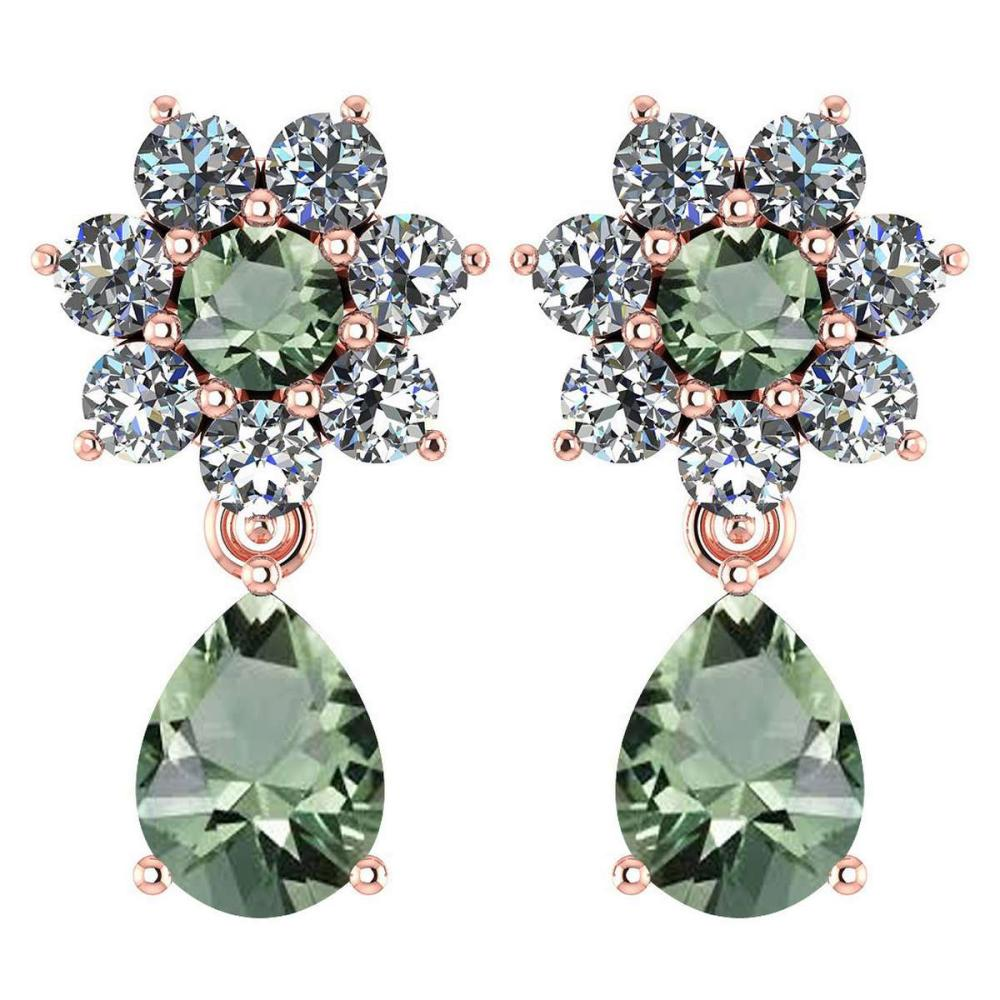 Certified 4.86 Ctw Green Amethyst And Diamond 14k Rose Gold Halo Dangling Earrings #1AC97485