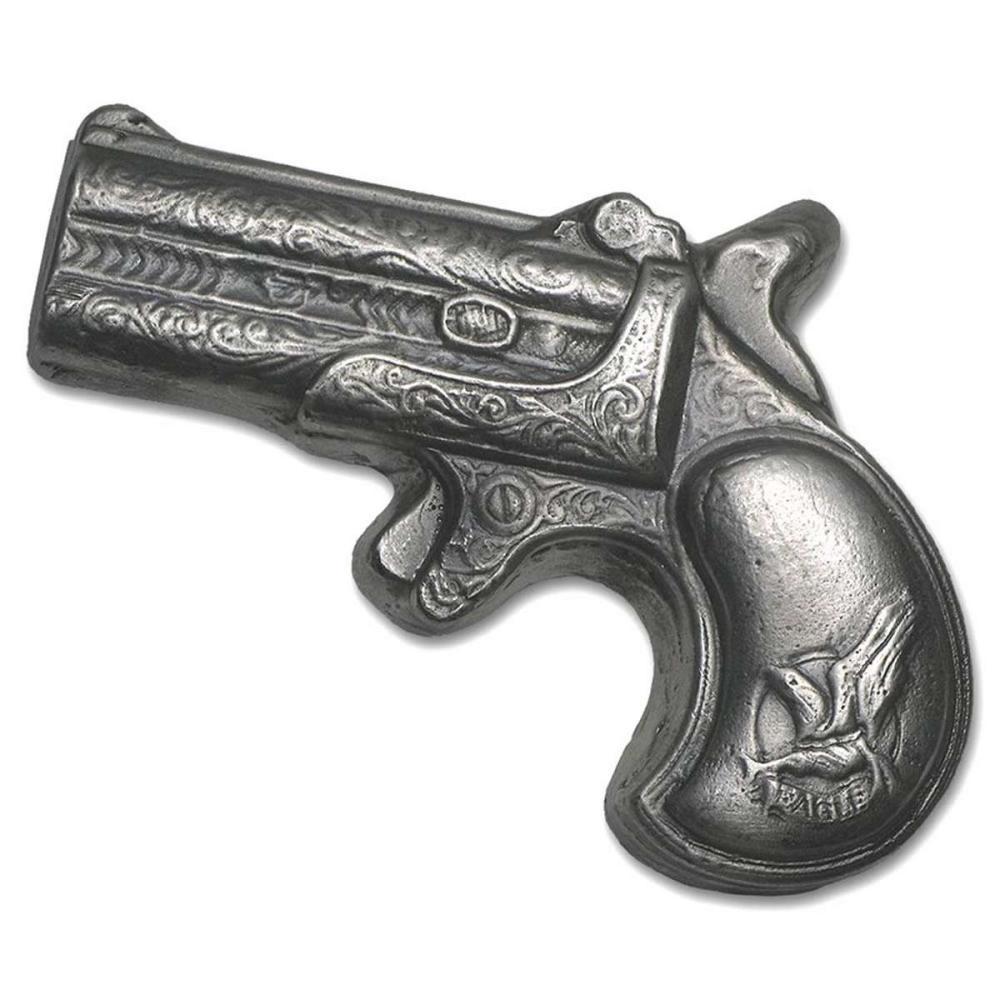 Hand Poured Silver Derringer Pistol 7 oz (Miniature Size) #1AC96548