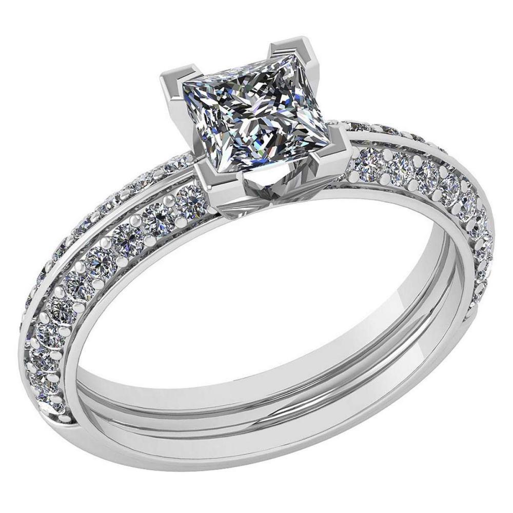 Certified 0.74 Ctw Diamond Wedding/Engagement Style 14k White Gold Halo Ring (SI2/I1) #1AC19310