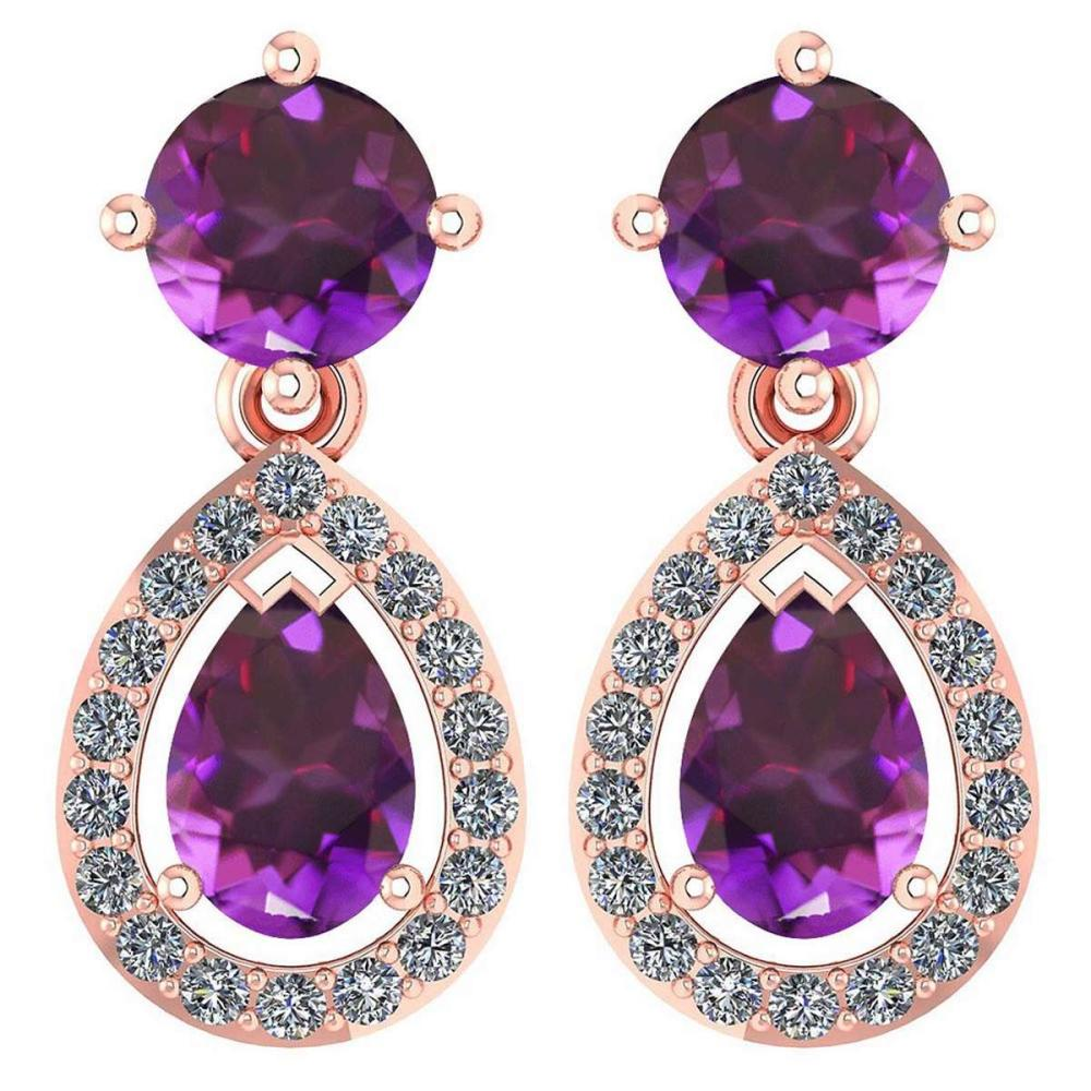 Certified 2.19 CTW Amethyst And Diamond 14k Rose Gold Halo Dangling Earrings #1AC98737