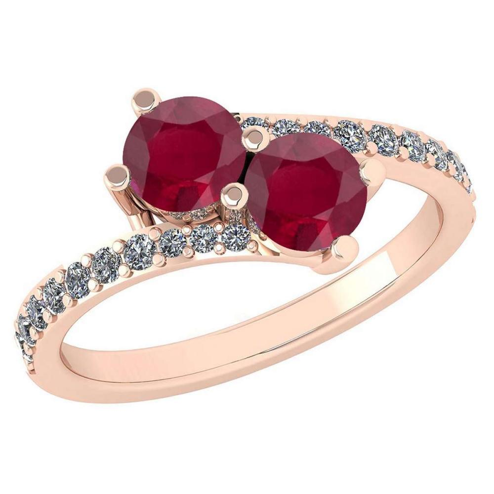 Certified 1.24 Ctw Ruby And Diamond Wedding/Engagement Style 14K Rose Gold Halo Ring (VS/SI1) #1AC18655
