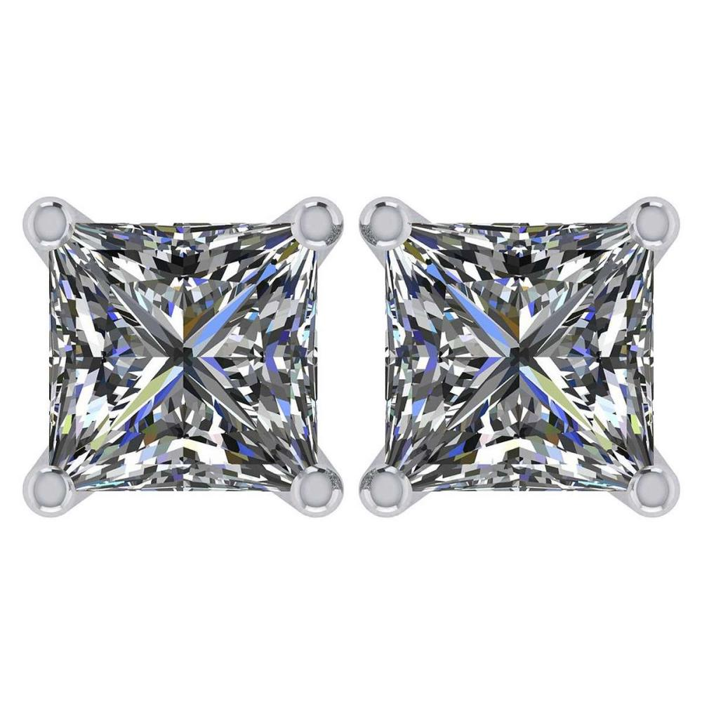 Certified 2.00 Ctw Diamond 14K White Gold Stud Earring Made In USA #1AC97357