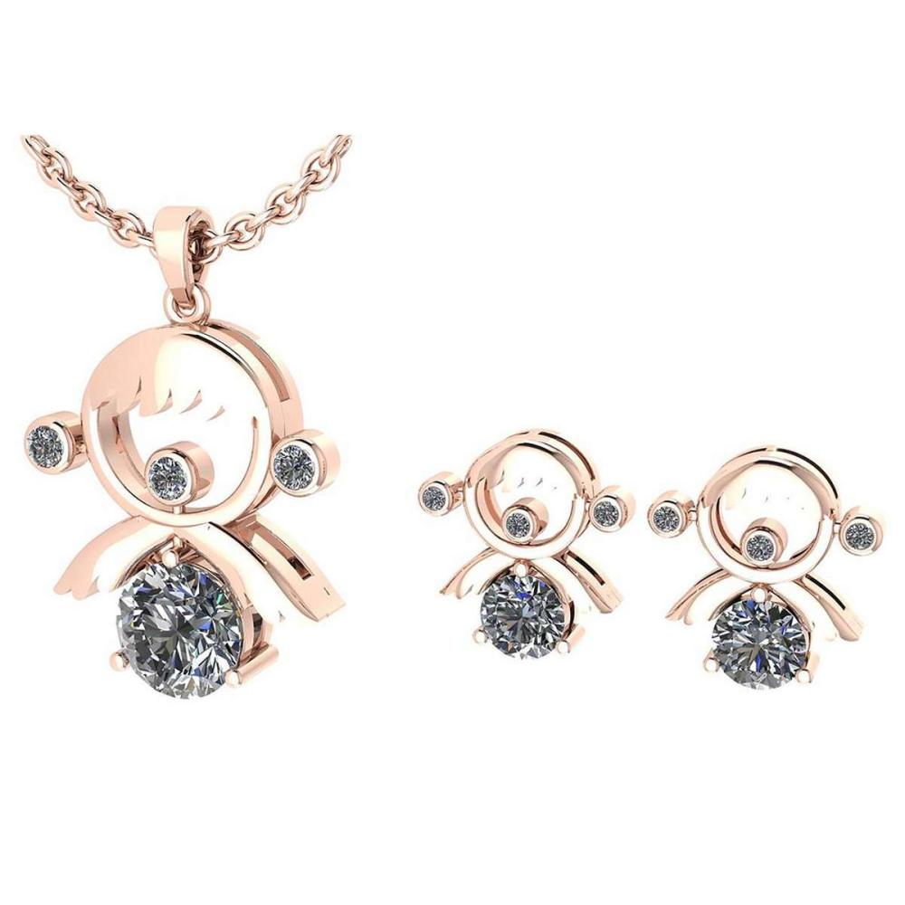 Certified 0.93 Ctw Diamond Tiny Angel Necklace + Earrings Jewelry Set New Expressions love collection 14K Rose Gold (SI2/I1) #1AC19339