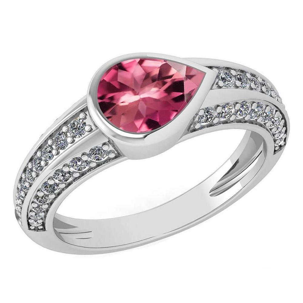 Certified 1.73 Ctw Pink Tourmaline And Diamond Wedding/Engagement Style 14K White Gold Halo Ring (VS/SI1) #1AC18718