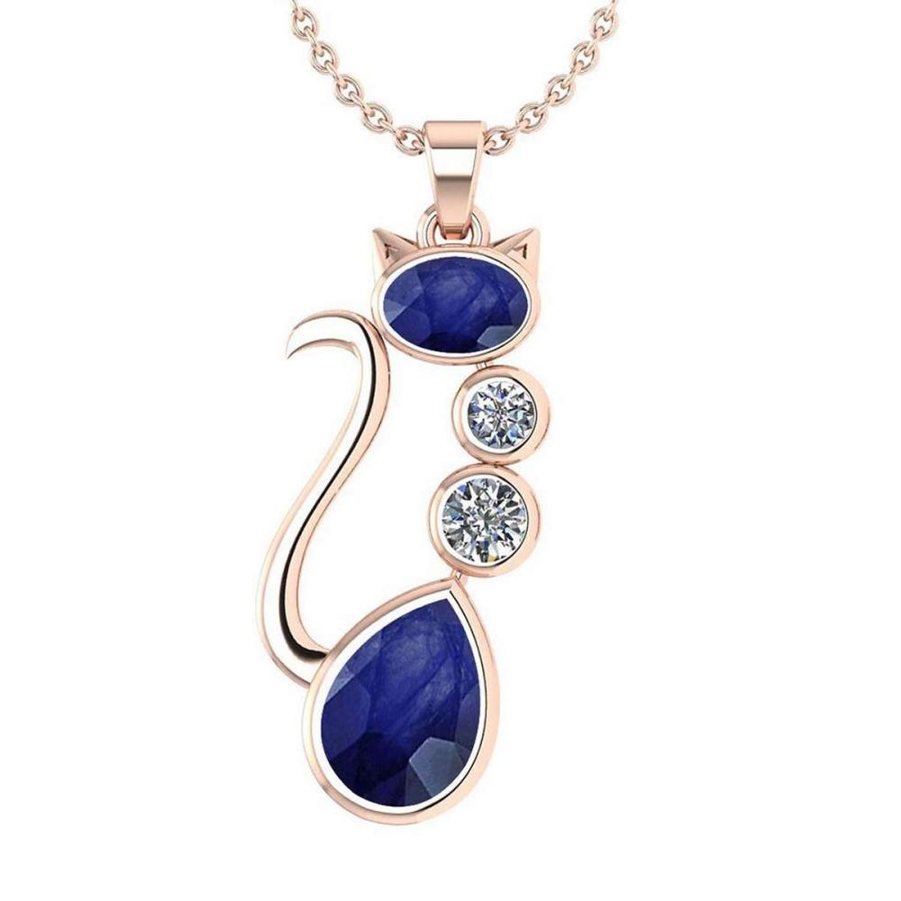 Certified 2.67 Ctw Blue Sapphire And Diamond 14K Rose Gold Halo Cat Necklace (VS/SI1) #1AC19417