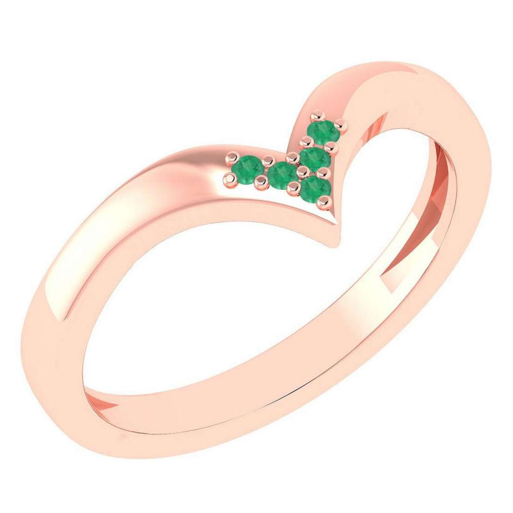 Certified 0.03Ctw Emerald And Diamond 14k Rose Gold Band Made In USA #1AC97392