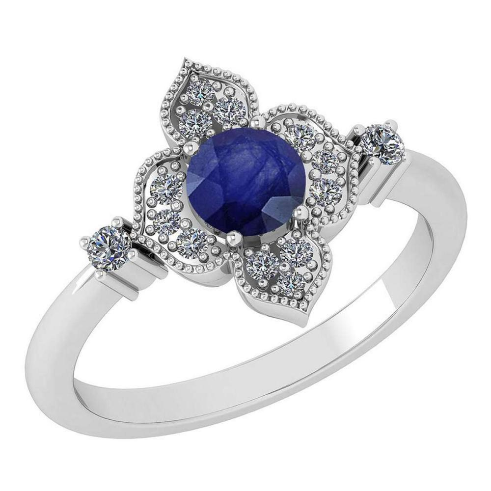 Certified 0.68 Ctw Blue Sapphire And Diamond Wedding/Engagement Style 14K White Gold Halo Ring (VS/SI1) #1AC18731