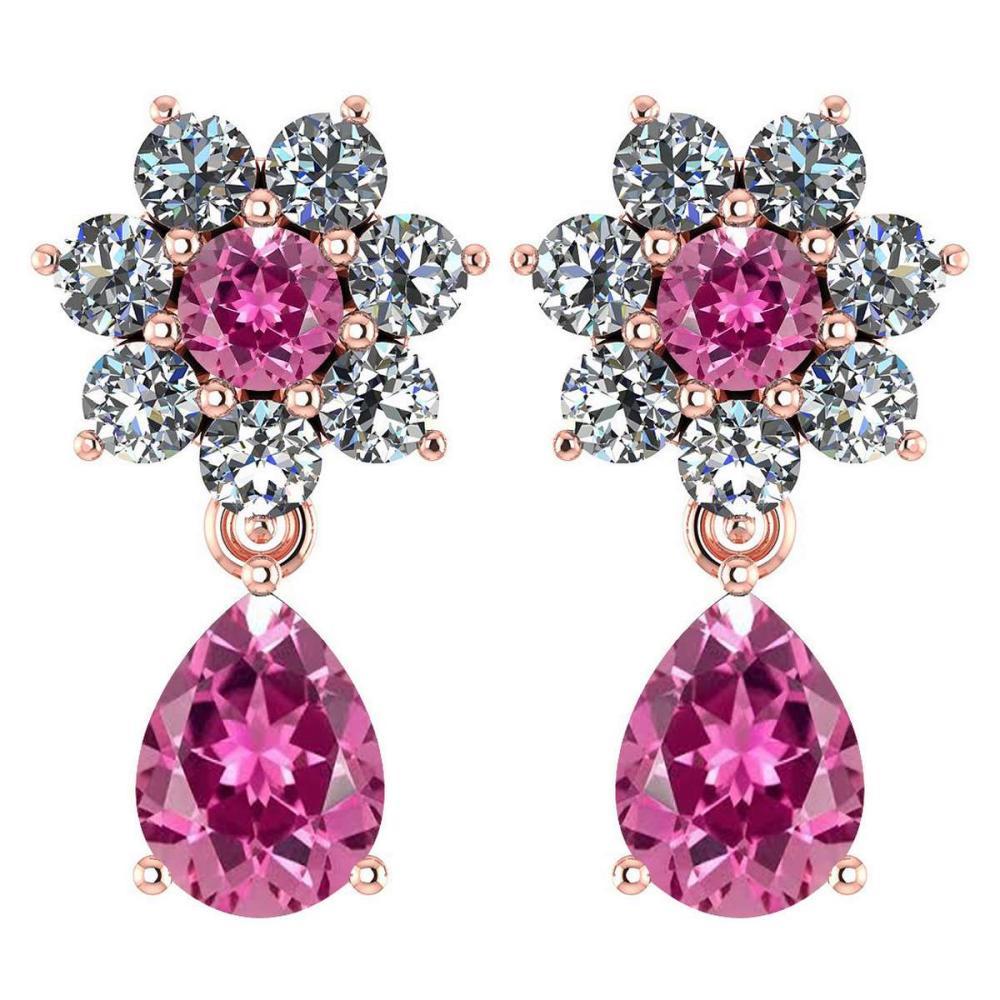 Certified 4.86 Ctw Pink Tourmaline And Diamond 14k Rose Gold Halo Dangling Earrings #1AC97483