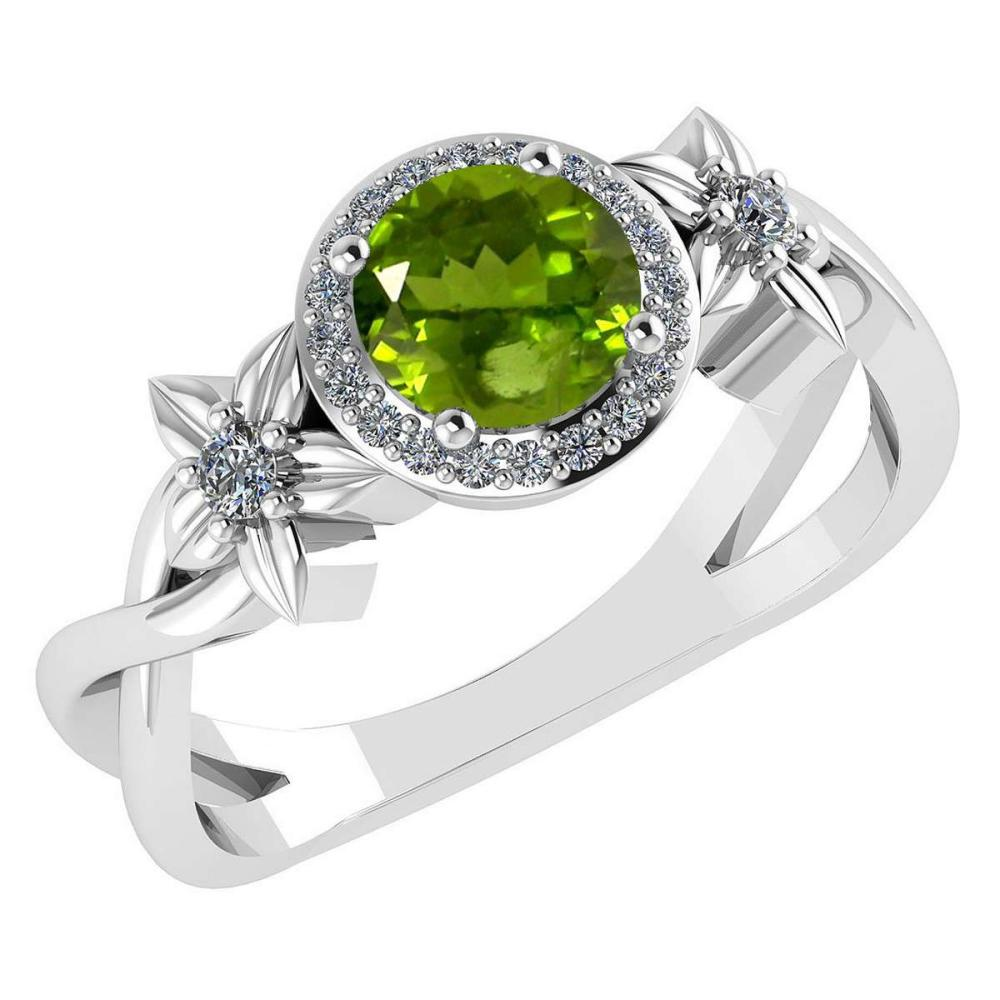 Certified 1.00 Ctw Peridot And Diamond 14k White Halo Gold Ring (VS/SI1) #1AC18525