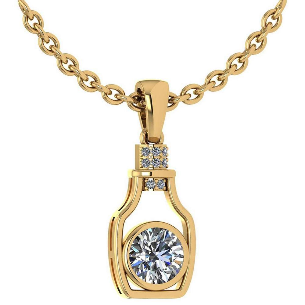 Certified 1.36 Ctw Diamond bottle Necklace For womens New Expressions Love collection 14K Yellow Gold (SI2/I1) #1AC19202