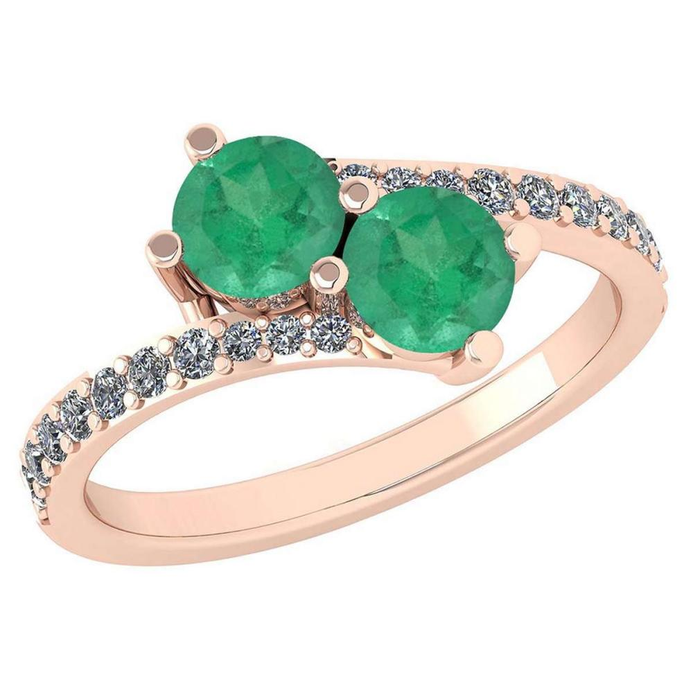 Certified 1.24 Ctw Emerlad And Diamond Wedding/Engagement Style 14K Rose Gold Halo Ring (VS/SI1) #1AC18657