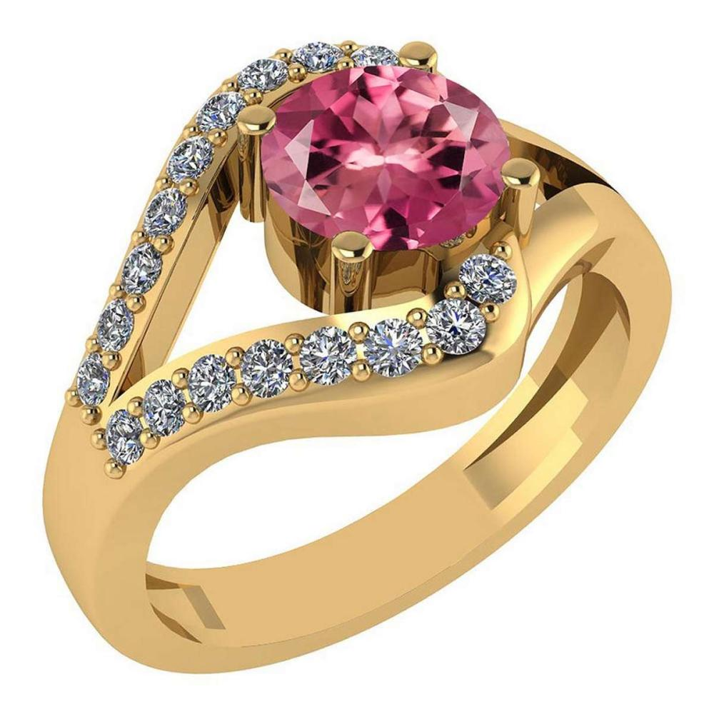 Certified 1.04 Ctw Pink Tourmaline And Diamond Wedding/Engagement Style 14K Yellow Gold Halo Ring (VS/SI1) #1AC18693