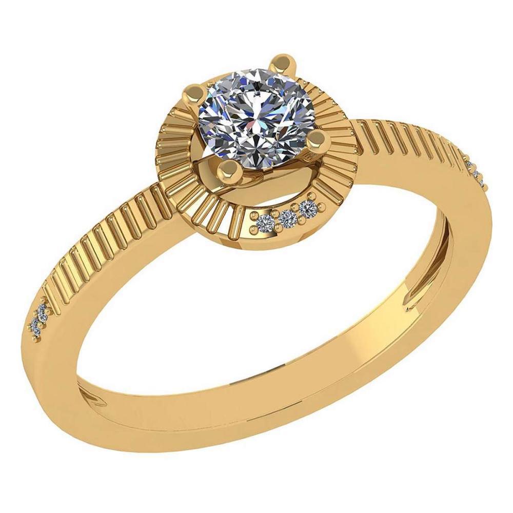 Certified 0.37 CTW Diamond 14k Yellow Gold Halo Ring #1AC98755