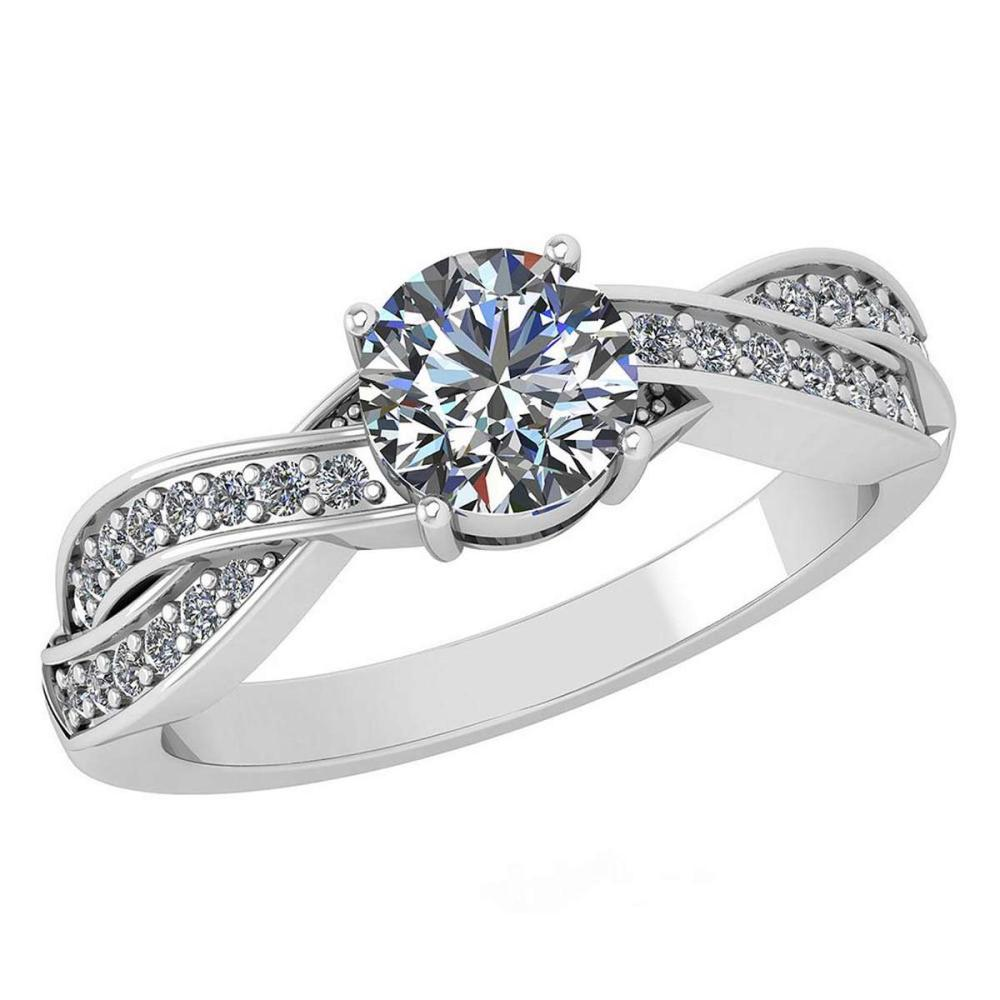 Certified 1.05 Ctw Diamond Halo Ring For Engagement New Expressions love collection 14K White Gold (SI2/I1) #1AC19217