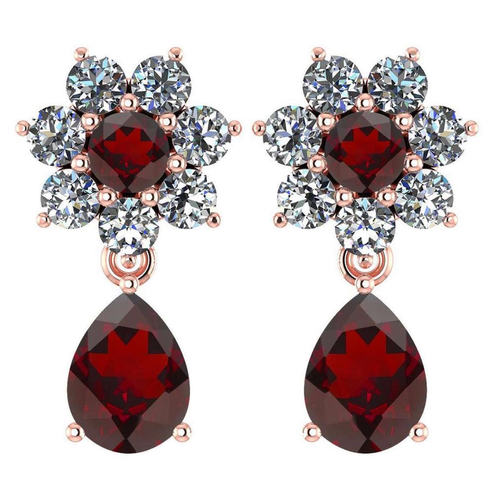 Certified 4.86 Ctw Garnet And Diamond 14k Rose Gold Halo Dangling Earrings #1AC97487