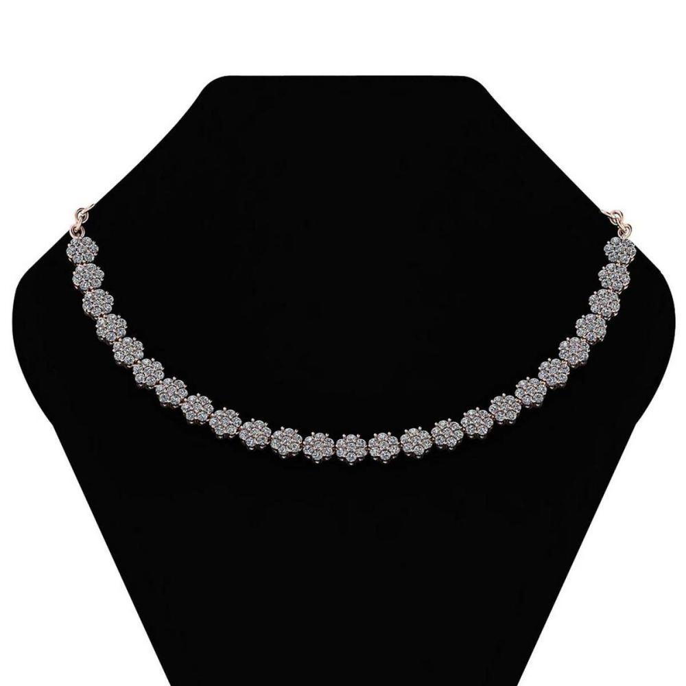 Certified 12.07 Ctw Diamond (VS-SI1/G-H) Necklace 14K Rose Gold #1AC19315