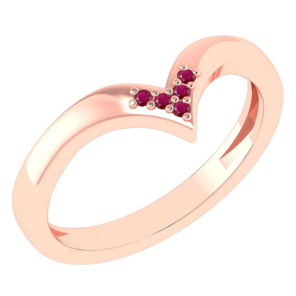 Certified 0.03Ctw Ruby And Diamond 14k Rose Gold Band Made In USA #1AC97391