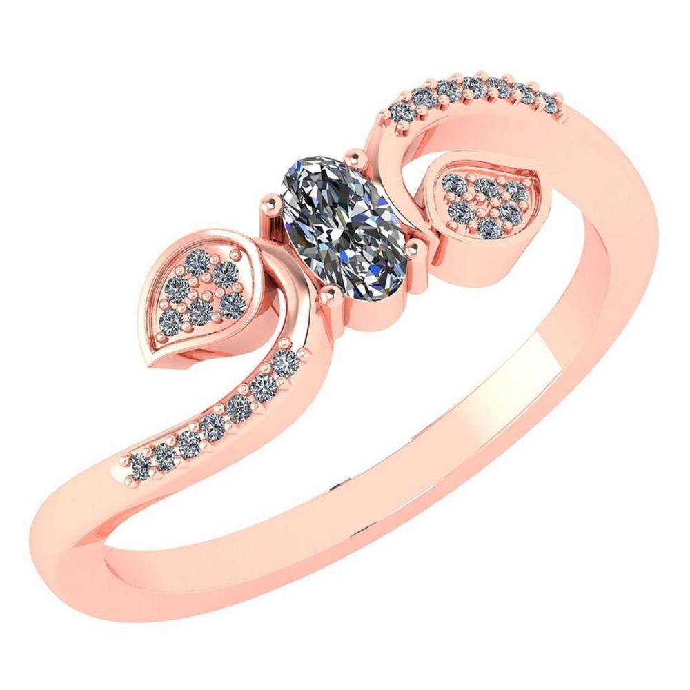 Certified 0.28 CTW Diamond 14k Rose Gold Halo Ring #1AC98762