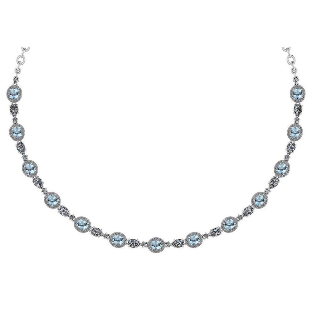 Lot 1111199: Certified 10.15 Ctw Aquamrine And Diamond Necklace For Ladies 14K White Gold (SI2/I1) #1AC19397