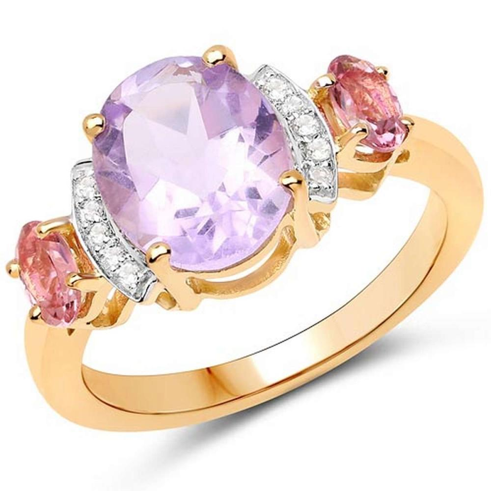 14K Yellow Gold Plated 2.56 CTW Genuine Pink Amethyst Pink Tourmaline and White Topaz .925 Sterling Silver Ring #1AC29251