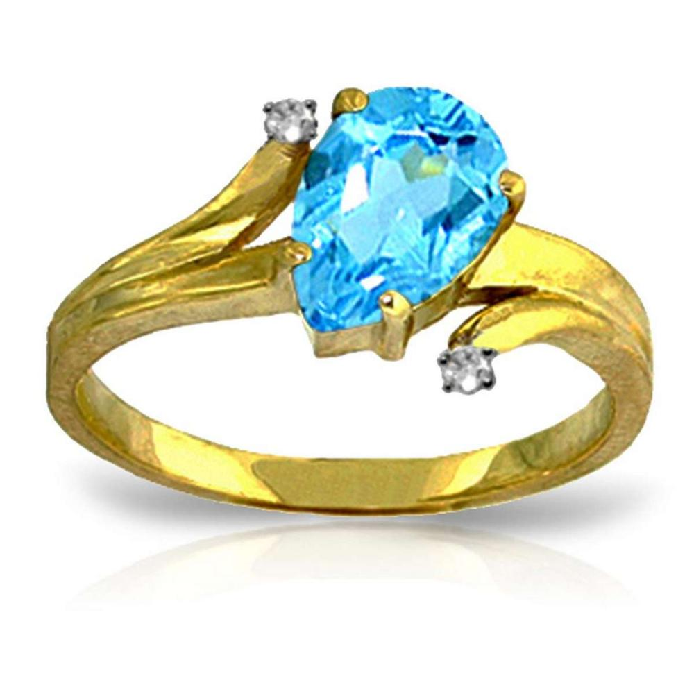1.51 Carat 14K Solid Gold Take My Hand Blue Topaz Diamond Ring #1AC91582