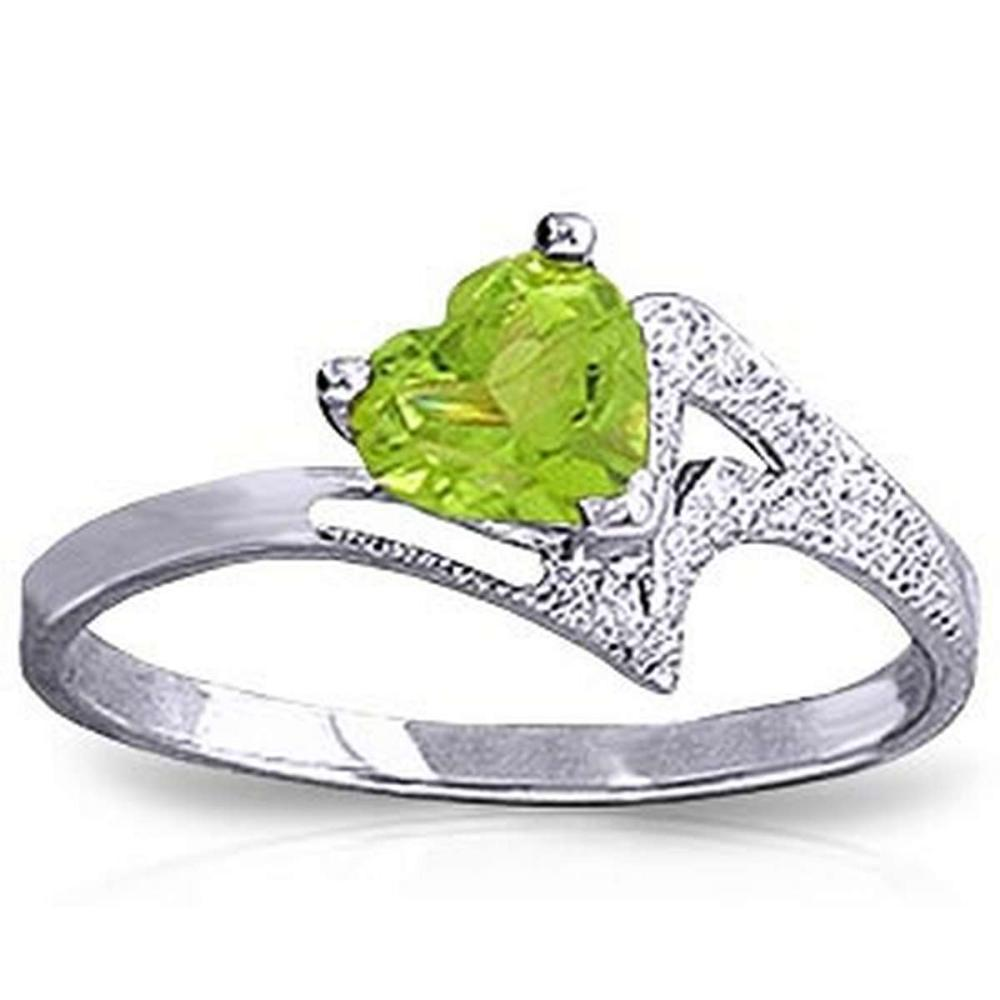0.6 Carat 14K Solid White Gold Ring Natural Peridot #1AC91357
